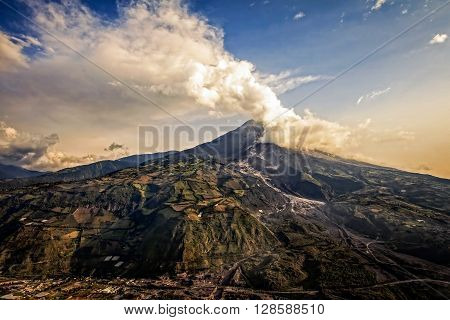 Tungurahua Volcano Intense Strombolian Activity At Sunset Aerial View February 2016 Ecuador South America