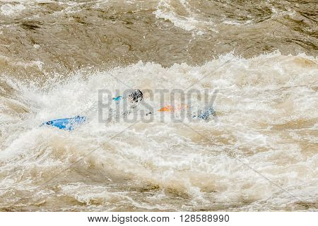 Unidentified Whitewater Kayaker At Pastaza River Ecuador South America