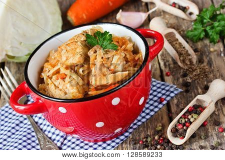 Cabbage stew with meat on red bowl with dots hearty rustic dish selective focus