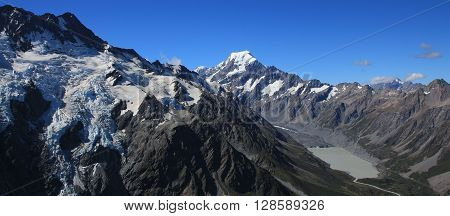 Mt Cook. Highest mountain of the Southern Alps New Zealand.