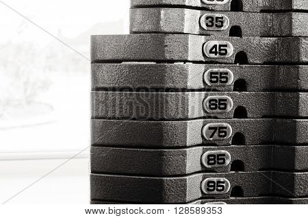 Gym Weight equipment close up with numbers on plates.