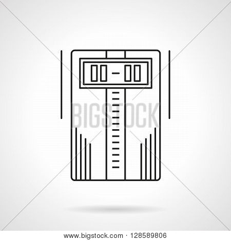 Household appliances. Home climate system equipment. Temperature control device with digital display. Flat line style vector icon. Single design element for website, business.