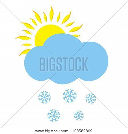 Icon cloud with sun and snowflakes. Vector illustration.