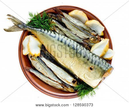 Smoked seafood fish and squid on plate isolated on white background top view