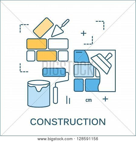 Thin line flat design of construction tools and house renovation banner. Modern vector illustration concept, isolated on white. Flat line design for website element and web construction banner.
