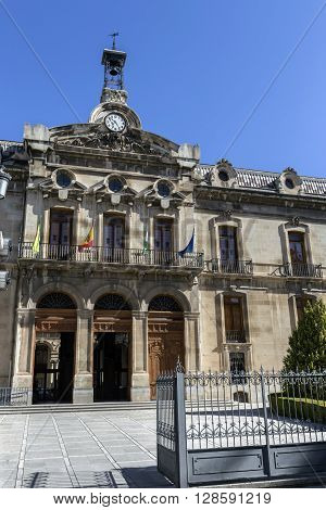 JAEN SPAIN - may 2016 2: Palace of the County council of Jaen the neoclassical facade is the work of Jorge Porrua y Moreno in the year 1867 located near the Cathedral of Jaen Spain