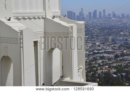 LOS ANGELES - MAY 3 - Downtown Los Angeles skyline viewed from Griffith Observatory.