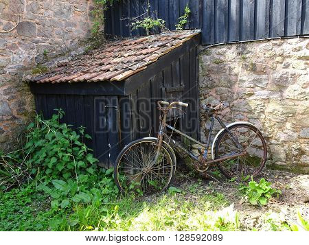 Bicycle And Rustic Shed Photographed In Budlake In Devon