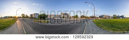 German Goverment Buildings With Panorama Of Spree Bogen In Berlin Mitte