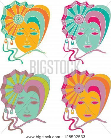 Vector illustration of a carnival mask on a white background
