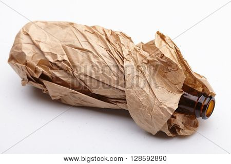 beer bottle in the paper bag
