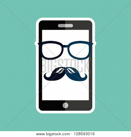 smartphone whit mustache and glasses  design, vector illustration eps10 graphic