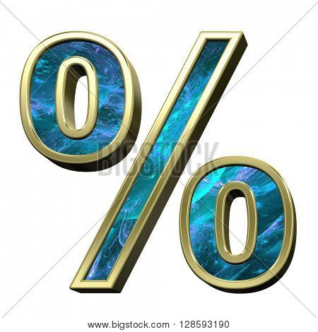 Percent sign from blue fractal with gold frame alphabet set isolated over white. 3D illustration.