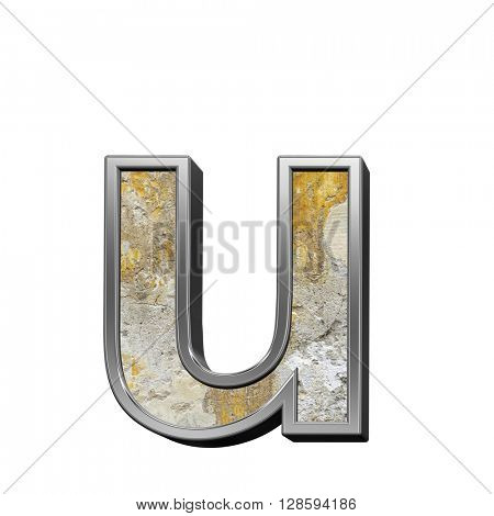 One lower case letter from old concrete with silver frame alphabet set isolated over white. 3D illustration.