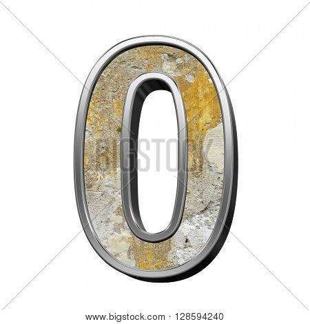 One digit from old concrete with silver frame alphabet set isolated over white. 3D illustration.