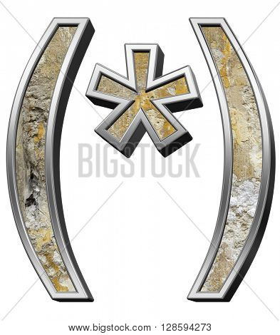 Parenthesis, asterisk from old concrete with silver frame alphabet set isolated over white. 3D illustration.