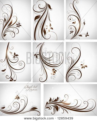abstract floral background vector illustration set