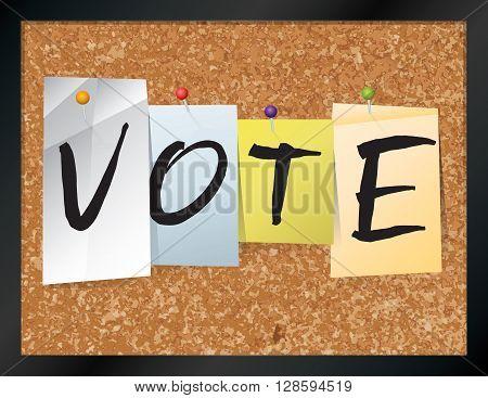 Vote Bulletin Board Theme Illustration