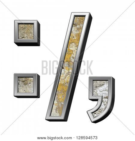 Colon, semicolon, period, comma from old concrete with silver frame alphabet set isolated over white. 3D illustration.