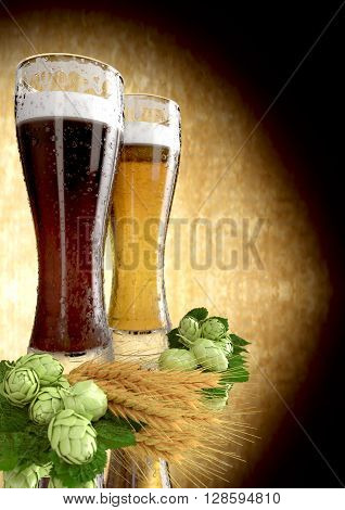 black and classic beer with barley and hops  - 3D render