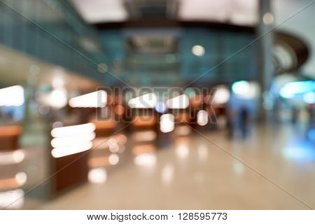 Defocused photo of Business Lounge in Dubai airport. Mat be use like background.