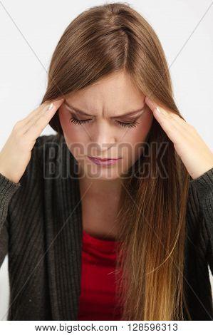 Very paintful headache. Unhealthy woman in pain. Sharp strong sore.