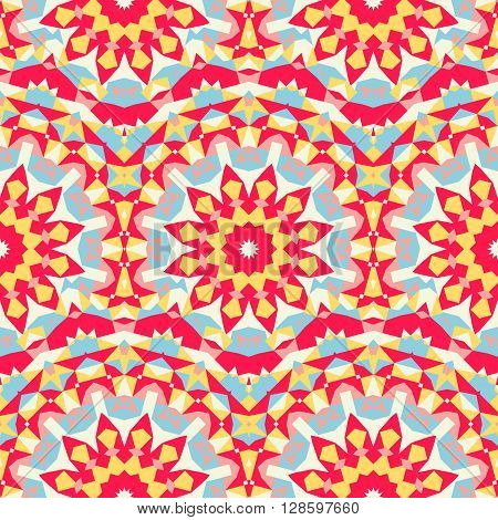 Vector ethnic colorful pattern in bright colors with big abstract flowers and suns. Geometric background with Arabic, Indian, Moroccan, Aztec motifs. Bold print with stars, mandalas, triangle, polygon