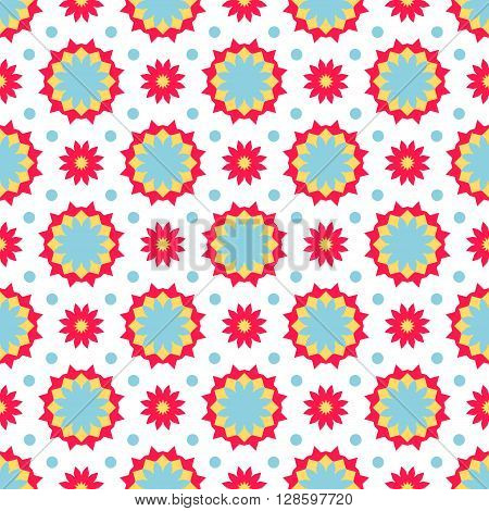Vector ethnic colorful pattern in bright colors with small abstract flower and sun. Geometric background with Arabic, Indian, Moroccan, Aztec motifs. Bold print with stars, mandalas, triangle, polygon