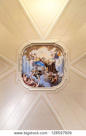 Marostica Italy - April 12 2016: Painted ceiling of the church of the