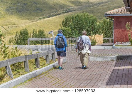 Two Elderly Women Walking On Nature