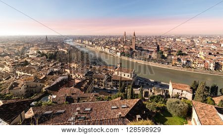 Panorama of Verona (Italy). The city of Romeo and Juliet view from the square of Castel San Pietro.