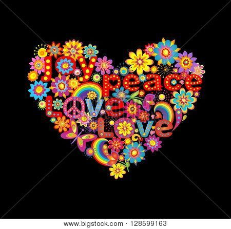 Floral heart shape with hippie symbolic