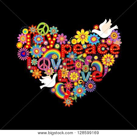 Heart shape with hippie symbolic and doves