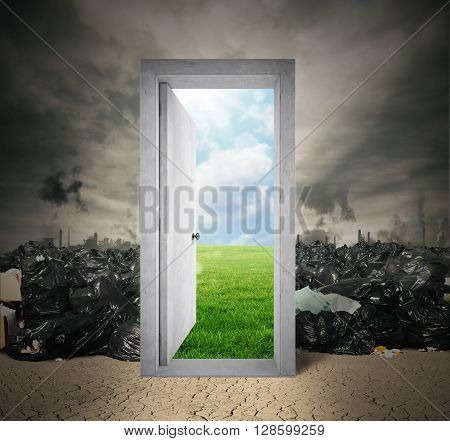 Garbage with door on a natural landscape