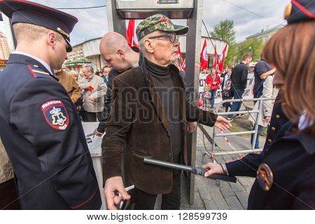 MOSCOW - MAY 1, 2016: Eduard Limonov, russian nationalist writer and political dissident, founder and former leader of the banned National Bolshevik Party, in rally marking the May Day.