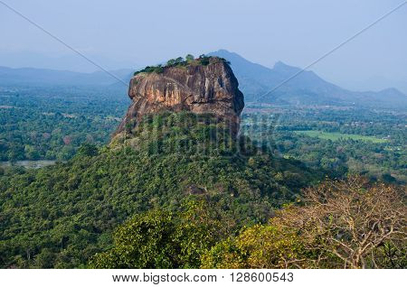 Sigiriya Rock Fortress, seen from Pidurangala Rock, Sri Lanka.