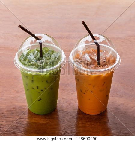 Iced Green tea and milk tea in the cafe