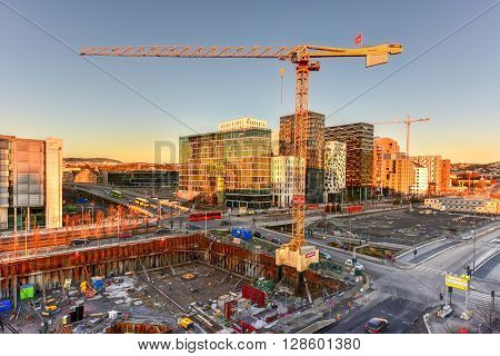 Oslo Norway - February 27 2016: Modern business architecture under construction in the center of Oslo Norway.