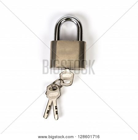the Metalic padlock with the key on white background