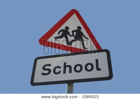 Caution School Road Sign