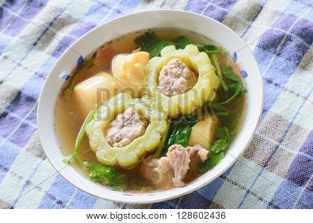 Bitter Gourd Soup with Pork in a Bowl