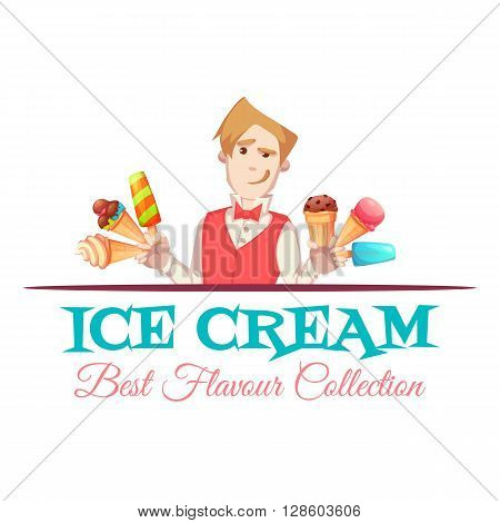 Ice cream vendor with best flavour collection. Vector illustration.