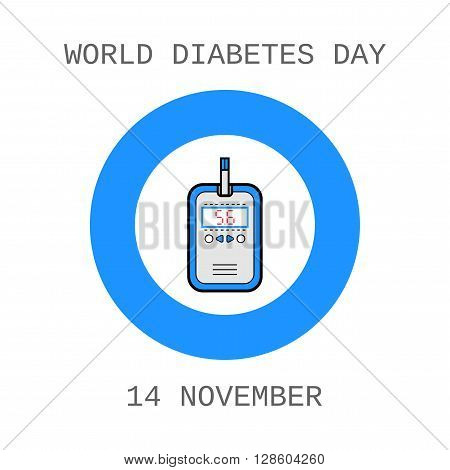 World Diabetes Day. Glucometer and test strip. Label, flat icon, medical equipment. Vector illustration