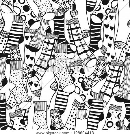 Seamless black and white pattern of doddle socks for colored book