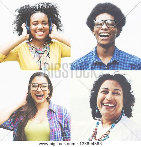 Multiethnic Group People Happiness Smiling Cheerful Concept