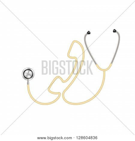 Stethoscope in shape of telephone in light brown design on white background
