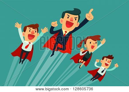 Super business team-team of super businessmen in red capes flying upwards to their success