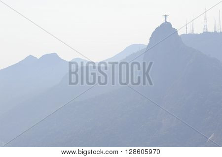 December 2011 -  Rio de Janeiro, Brazil. View at the Corcovado mountain and the Christ the Redeemer of Rio de Janeiro.