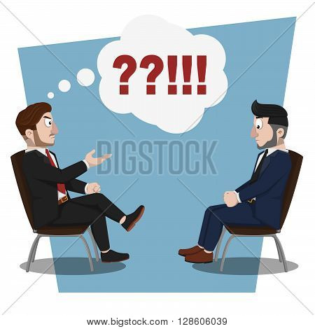Business man angry consultation. eps10 editable vecor illustration design