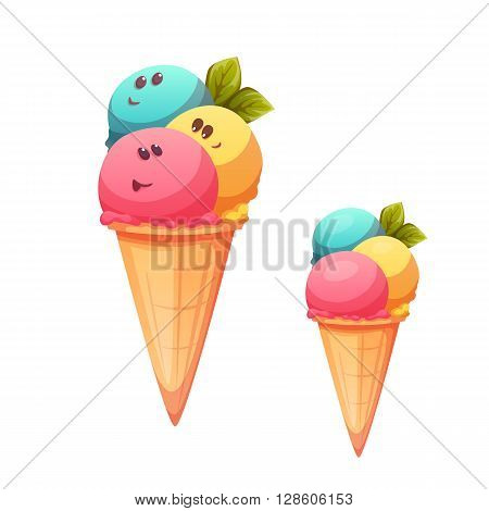 Ice cream cone with flavour collection. Vector illustration.